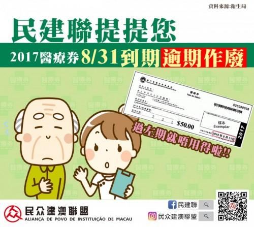 """【民建聯提提你】""""2017年醫療券""""18年8月31日後過期"""